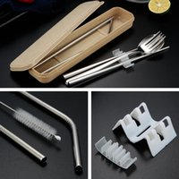 Stainless Steel Flatware 6 Pcs Set Portable Chopstick Forks Cutlery Sets Metal Spoon With Box Dinnerware Drinking Straw Brush HHB7175