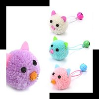 Colorful Creative Cute Cartoon Plush Mouse Head Modeling With Bell Cat Toy Portable Practical Self Hi Interactive Fun Pet Supplies