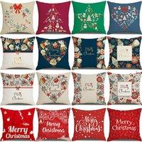 20 Farben Dekorative Kissenbezüge für Weihnachten Leinenkissen 45 * 45 cm Santa Printed Pillowcaseowa8442