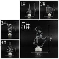 Party Supplies Christmas Decorations Home Santa Tree Night Lights New Year Ornaments Xmas Table Decor Gift Glowing Colorful Acrylic DWF9006