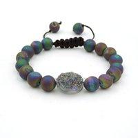 8mm 10mm titanio arcobaleno / blu Agat smerigliato Agat E rotondo perline cristallo Druzy ovale Braccialetti perline perline fai da te nodo nodo perline, fili