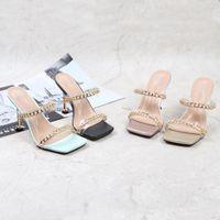 Slippers KM-ROYA 9.5cm Heel Summer Chain Outdoor Slipper Ladies Shoe Slides Casual Flip Flops Sandals High Women's