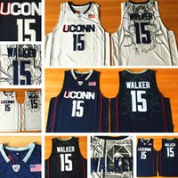 Uconn Huskies 15 Kemba Walker College Jersey University usa homens brancos marinho NCAA basquete costurado jerseys s-2xl qualidade superior