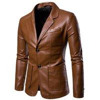 Uomo Giacca in pelle Pu Blazer Blazer Nero Vino rosso Giallo Giallo Brown Autunno Inverno Vestito Giacche Vestito moda Giovani Casual Blazer Casual Vita quotidiana Abiti da uomo