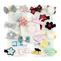 Hair Accessories Top Quality Lovely Designs 5Pcs set Baby Kids Girls Clip Bow Flower Mini Barrettes Hairpin Infant