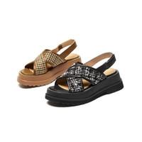 Sandals Chic Houndstooth Plaid Sheepskin Leather Chunky Heels Woman Platformed Hook&Loop Brand Designer Tweed Shoes Summer Women