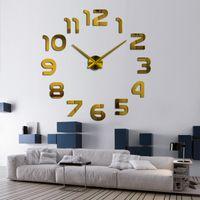 Yeni Tasarım Saat İzle Duvar Saatleri Horloge 3D DIY Akrilik Ayna Çıkartmalar Ev Dekorasyon Oturma Odası 1350 V2