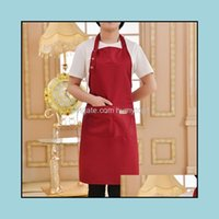 Aprons Textiles Home & Gardensolid Color Bib Waterproof Stain-Resistant With Two Pockets Chef Baking Cooking Bbq Adjustable Apron Kitchen To