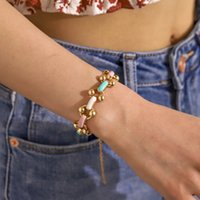 2021 Trend Rainbow Drip Oil Buckle Clasp Chain Charm Bracelets Women Punk Stainless Steel Beaded Circle Bracelet Bangles Party Jewelry
