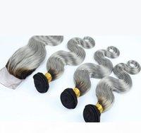 Chiusura in pizzo grigio argento 4x4 con tessitura # 1b grigio capelli malesi capelli ombre con chiusura del corpo onda due toni 3bundles con chiusura 4 pz lotto