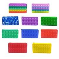 Silicone Rainbow Push Bubble Pencil Bag Case Fidget Party Simple Dimple Finger Toy Decompression Relief Interactive School Pouches 2928 Y2