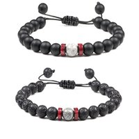 8mm Black Lava Stone Beads Weave Bracelets DIY Aromatherapy Essential Oil Diffuser Bracelet Couples Jewelry