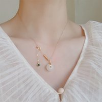 Badu and Tian Yuzhu Necklace women's safety clasp pendant clavicle chain jade design