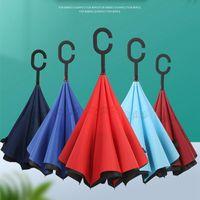 Umbrellas Creative Long Shank Double Layer Inverted Umbrella Windproof Reverse C-Hook Male Golf Wholesale Customizable LOGO