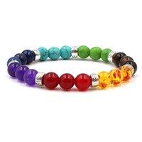 8mm FDH4 Mulitcolor Rainbow Arcobaleno Elastico Lava Lava Naturale Perle di pietra Agata Agata Onyx Braccialetto Buddha Turchese Jewelry Lapis Lazuli 127 W2
