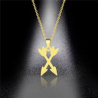 European And American Necklace Titanium Steel Double Arrow Love Flower Sweater Female Stainless Chains