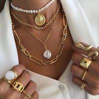Baroque Pearl Pendant Clavicle 체인 멀티 레이어 동전 스웨터와 레트로 여성 목걸이 판매 체인 도매