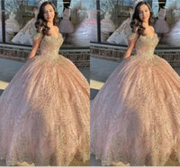 Glittery Rose Pink Sequined Quinceanera Dresses Cap Sleeve Beading Crystal Lace-up Ball Gown Sweet 16 Dress Prom Graduation Women High School