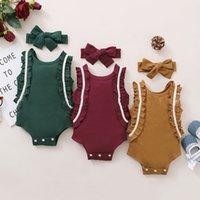 kids Rompers girls Pit stripe ruffle sleeve romper newborn infant Solid color Jumpsuits with Bow Headband summer fashion Boutique baby Climbing clothes Z3431