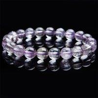 9.5mm Genuine Natural Roxo Kunzite Cristal Redondo Claro Claro Jóias Mulheres Femininas Charm Stretch Bracelet Apenas um Frisado, Strands