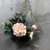 Wedding Window Artificial Flower Engagement Iron Art Birthday Decor Rope Floral Hoop Wreath Garland Pendant Home Geometric Wall Decorative F