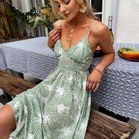 Simplee повседневная зеленая слинг печать женское платье лето сексуальное V-образным вырезом в праздничном стиле Maxi элегантное высокое талию на шнуровке кружевных платьев