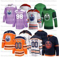Edmonton Oilers Jersey 29 Leon Draiseaitl 93 Ryan Nungent Hopkins 2019-2020 الفانيلة الهوكي الأسهم