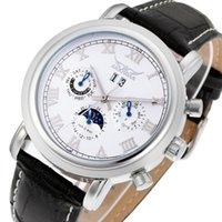 Jaragar Classic Black Moon Phase Roman Datum Dag Äkta läder Multifunktion Automatisk Mäns Mekanisk Klockor Business Relogio Wristwatche
