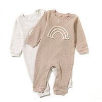 INS Toddler Baby Girls Rainbow Rompers Jumpsuits Knitted Full Sleeve Front Buttons Autumn Newborn Boys Jumper Onesies