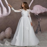 Long Sleeves Flower Girls Dresses for Wedding A Line Jewel Sweep Train First Communion Gown Little Girl Princess Formal Party