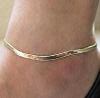 Silver Gold Plated Adjustable Flat Snake Chain Anklet Bracelet Women Simple Delicate Foot Chains Summer Beach Feet Jewelry