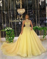 Yellow Halter Neck Prom Dresses For Arabic Woman Elegant Formal Evening Party Gowns Beaded Special Occasion Night Wear 2022 Abendkleider