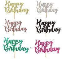 Joyeux anniversaire Topper Party Decor Decor Mariée Gâteau Rose Gold Gold Boy ou Fille Baby Douche Décorations d'anniversaire de mariage Fournitures BWA7650