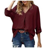 Women's Blouses & Shirts Women Fashion Long Sleeve Buckle V-neck T-shirt Solid Color Shirt Top Camisetas De Mujer