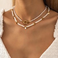 Chokers 2Pcs Set Retro Boho Copper Sequins Tassel Pendant Necklace Kpop Imitation Pearl Chain Choker Necklaces Collar For Women Jewelry
