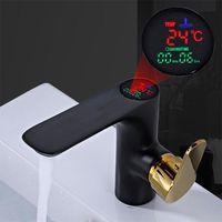 Bathroom Sink Faucets Intelligent LED Digital Temperature Basin Faucet Brass Mixer Cold Kitchen Splash Proof Tap Toilet Accessories