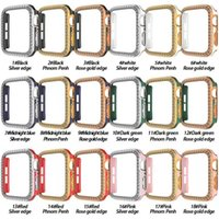 Watch case dual color plating with 2 rows diamonds Apple iWatch Series 6 5 4 3 1 SE 38MM 42MM 44MM 40MM Protective Cover without box