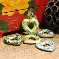 Enamel Filigree Colorful Large Love Heart Charms Long Necklace Handmade Cloisonne DIY Jewelry Making Pendant Sweater Chain Supplies
