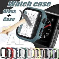 시리즈 6 전체 보호 커버 38mm 40mm 42mm 44mm 시계 밴드 액세서리에 대 한 강화 된 화면을 가진 다채로운 실리콘 하드 시계 케이스