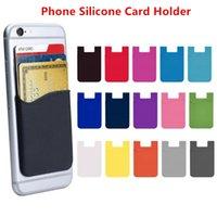 15 Renkler Telefon Kart Tutucu Silikon Yapıştırıcı Sopa ID Kredi Kartları Cüzdan Kılıfı Kılıfı Sleeve Cep Akıllı Telefonlar Ile Uyumlu
