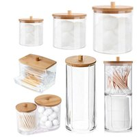 Storage Boxes & Bins Makeup Cotton Pad Organizer Box For Swab Rod Cosmetic Jewelry Bathroom Qtip Container With Wood Lid