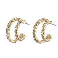 S925 Silver Needle Crystal Zircon Ring Earring Earnail Women Fashion Double Layer Full Diamond Geometric Metal Earring Earring