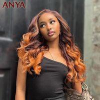 Anya Brown con peluca frontal de encaje naranja Plaquilla de cuerpo Plaquines Humano Hair Transparente 30 pulgadas Remy Brasileño para mujeres pelucas