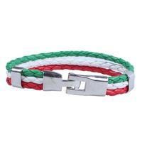 Bracelet de bijoux de bracelets de charme, bracelet de drapeau italien, alliage de cuir, pour femmes pour hommes, vert blanc rouge (largeur 14 mm, longueur 23 cm)