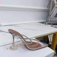 Moda Ayakkabı Amina İtalya Muaddi Gilda 95mm Kristal-Süsüklü Pompalar Külkedisi Şeffaf Temizle PVC Yüksek Heykel Topuk