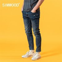 Simwood 2021 летние новые тонкие пригодные джинсы мужчины мода повседневная разорванные отверстия джинсовые брюки высокого качества плюс размер одежды SJ120388 210330