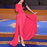 Sexy One Shoulder Prom Dresses Long Sleeves Jumpsuits Satin Formal Dubai Middle East Evening Party Gown Celebrity Dress Robe De Soiree