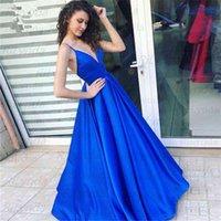 Vestido de festa azul royal, vestido com alas espaguete, cote em v, para baile, aberto nas costas, 2020 vestidos,