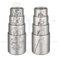 Tazze 4pcs tazza set 220ml 300ml 450ml 600ml famiglia titanio tazza carino caffè e cupscoffee con coperchio acqua TI3502