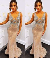 2021 Plus Size Arabic Aso Ebi Gold Luxurious Mermaid Prom Dresses Beaded Crystals Sheer Neck Evening Formal Party Second Reception Gowns Dress ZJ556